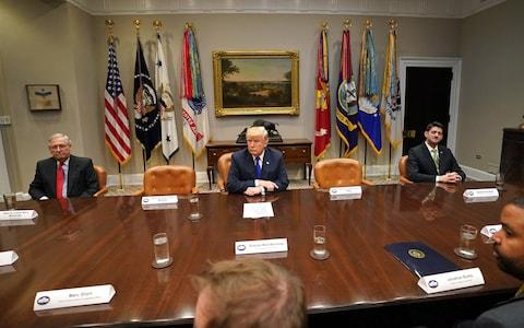 <span>Mitch McConnell with other congressional leaders and Donald Trump, inside the White House</span>