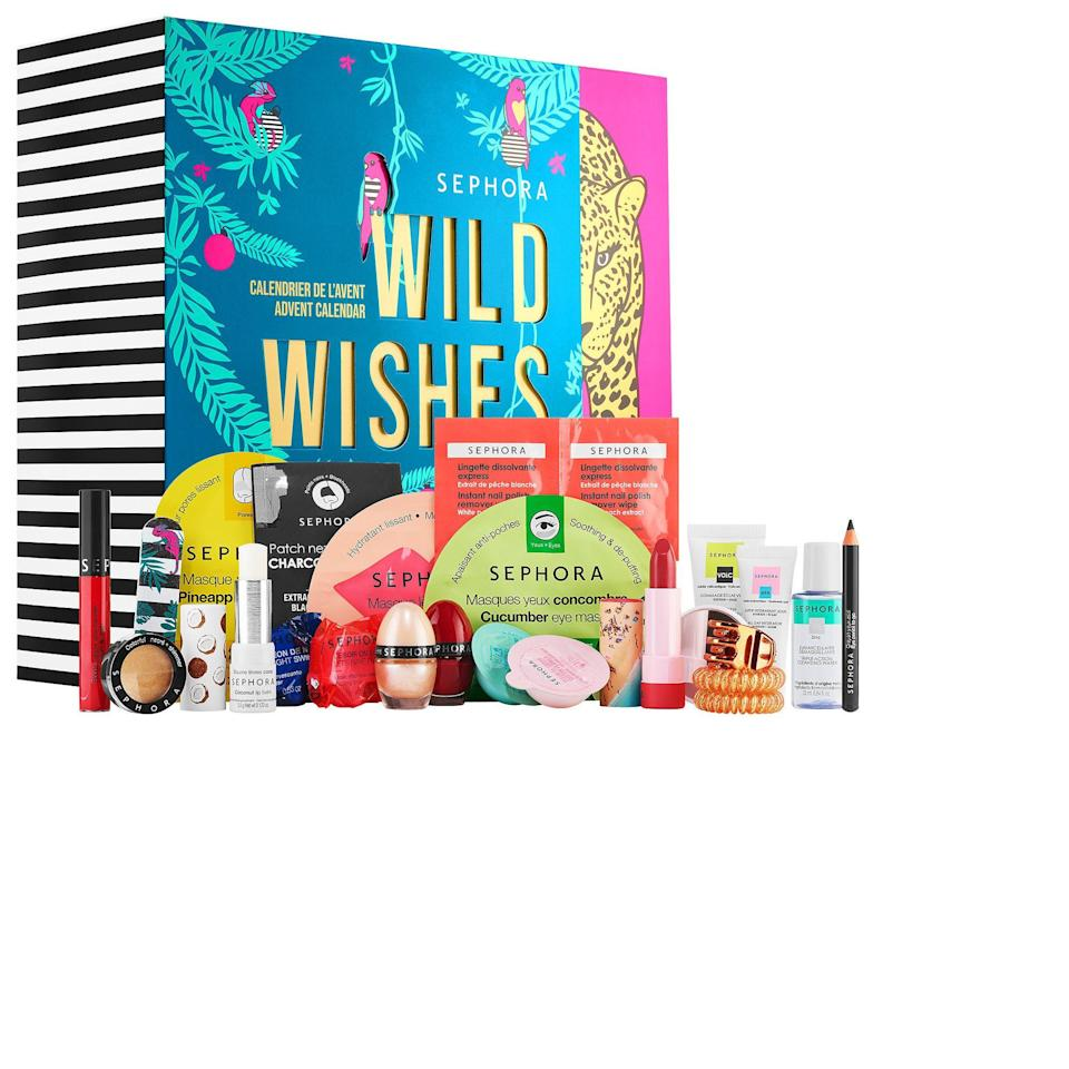 """<p><strong>SEPHORA COLLECTION</strong></p><p>sephora.com</p><p><strong>$45.00</strong></p><p><a href=""""https://go.redirectingat.com?id=74968X1596630&url=https%3A%2F%2Fwww.sephora.com%2Fproduct%2Fsephora-collection-wild-wishes-advent-calendar-P461519&sref=https%3A%2F%2Fwww.prevention.com%2Fbeauty%2Fg34414540%2Fbeauty-advent-calendar%2F"""" rel=""""nofollow noopener"""" target=""""_blank"""" data-ylk=""""slk:SHOP NOW"""" class=""""link rapid-noclick-resp"""">SHOP NOW</a></p>"""