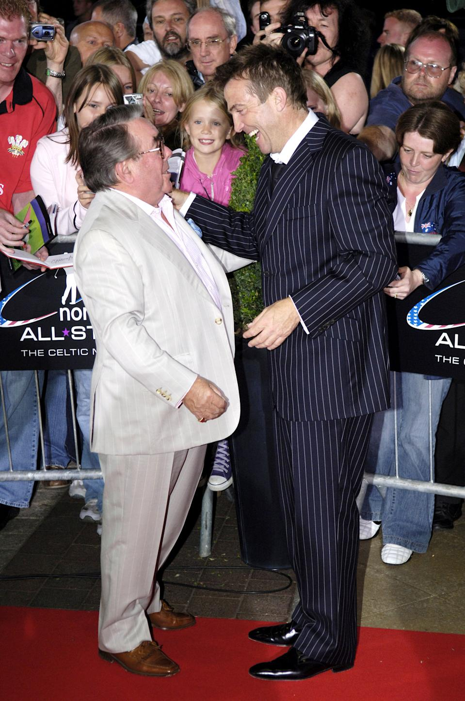 Ronnie Corbett and Bradley Walsh during The Northern Rock All Star Charity Gala - Red Carpet at Celtic Manor Resort in Newport, Great Britain. (Photo by Sandy Young/WireImage)