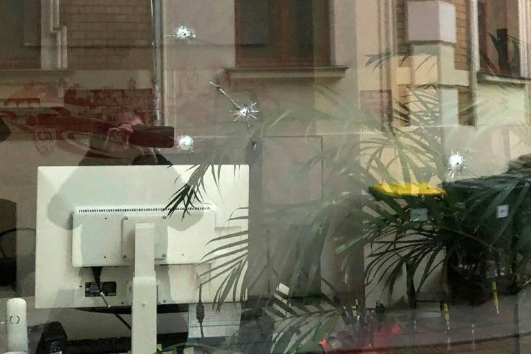 The damage to Diaby's office window was clearly visible Wednesday (AFP Photo/Petra Buch)
