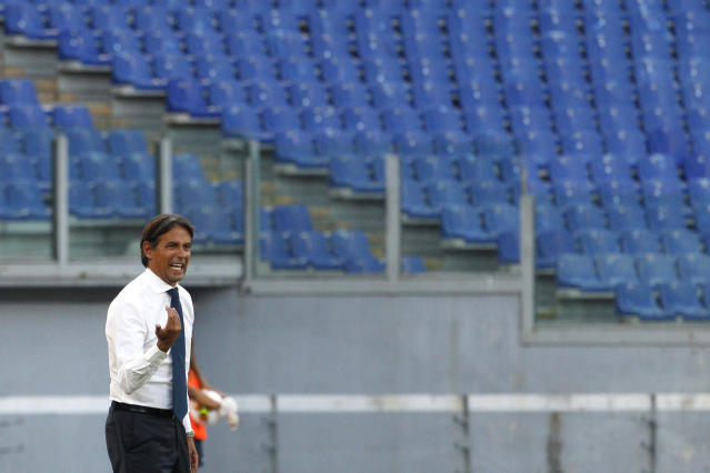 Lazio's head coach Simone Inzaghi gestures during the Serie A soccer match between Lazio and Brescia, at Rome's Olympic Stadium, Wednesday, July 29, 2020. (AP Photo/Riccardo De Luca)