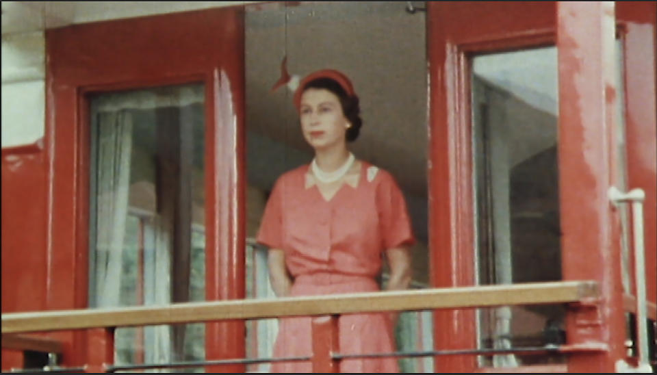 From Factual Fiction  THE QUEEN UNSEEN Thursday 8th April 2021 on ITV   Pictured: Queen in red dress at the back of the train in New Zealand 1953 During the Queen's visit to New Zealand, the Royal Train Ð complete with feather beds Ð became home from home for the royal couple - taking them to 110 functions in 46 towns and cities. Part of a gruelling six-month tour of the Commonwealth soon after the Coronation.  The Queen is the most famous woman in the world, yet as she reaches her 95th birthday she remains an enigma. In this unique film, we lift the mask of royalty to reveal the remarkable woman behind the throne. To learn more about the hidden private Elizabeth Windsor, who has sacrificed so much for crown and duty and discover how she has coped with increasing public demands to reveal every aspect of her private self.   Using unseen home movies, intimate informal archive and recently digitised ÔlostÕ material from some of the 116 countries she has visited, weÕll uncover the real Elizabeth Windsor.  In rare off-duty moments weÕll discover The Queen on holiday, as a mother, wife, cook, animal lover, farmer, and expert horsewoman.  This remarkable footage shows her true passions and some of the unlikely, unknown friendships she has forged away from the public eye.  (c) Factual Fiction.  For further information please contact Peter Gray 07831 460 662 peter.gray@itv.com    This photograph is © Factual Fiction and can only be reproduced for editorial purposes directly in connection with the programme. THE QUEEN UNSEEN or ITV. Once made available by the ITV Picture Desk, this photograph can be reproduced once only up until the Transmission date and no reproduction fee will be charged. Any subsequent usage may incur a fee. This photograph must not be syndicated to any other publication or website, or permanently archived, without the express written permission of ITV Picture Desk. Full Terms and conditions are available on the website https://www.itv.com/presscentre/itvpictures/terms