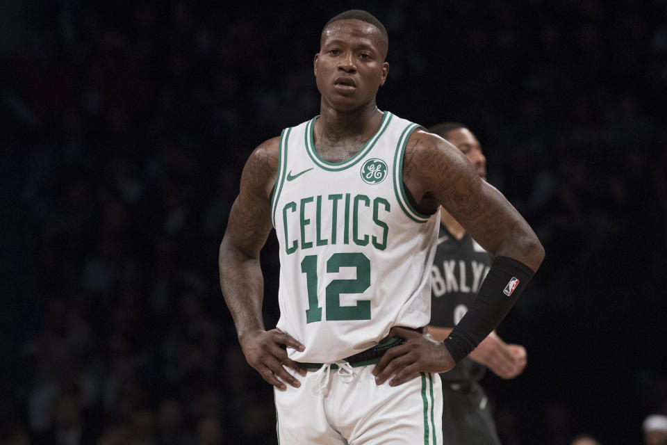 Boston Celtics guard Terry Rozier during a break in action in the first half of an NBA basketball game against the Brooklyn Nets, Saturday, March 30, 2019, in New York. (AP Photo/Mary Altaffer)