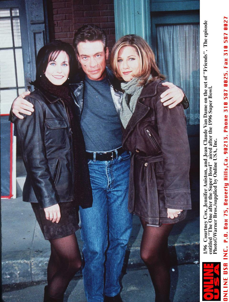 """2/96 Courteney Cox, Jennifer Aniston, and Jean-Claude Van Damme on the set of """"Friends"""" entitled """"The One After the Super-Bowl"""" which actually aired after the superbowl"""