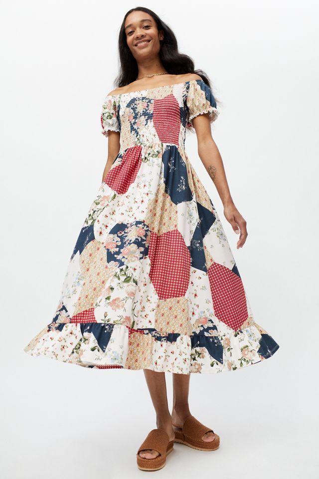 """<h2>Urban Outfitters Tessie Smocked Puff Sleeve Midi Dress</h2><br><strong><em>The Puff Sleeve Style</em></strong><br><br>Another big dress trend that's been successfully stretched out into a maxi silhouette is the <a href=""""https://www.refinery29.com/en-us/best-puff-sleeve-dresses"""" rel=""""nofollow noopener"""" target=""""_blank"""" data-ylk=""""slk:puff sleeve"""" class=""""link rapid-noclick-resp"""">puff sleeve</a>. Case in point: this fun patchwork number from Urban Outfitters, which shoppers rave is insanely soft to boot. <br><br><strong>The Hype: </strong>4.6 out of 5 stars; 17 reviews on Urbanoutfitters.com<br><br><strong>What They're Saying</strong>: """"Obsessed: I'm freaking in love with this dress! It is unbelievably comfy!! And the pattern is so cute I bought the black and patchwork one! It looks cute if you don't want it to be off the shoulder too!"""" — Victoria37, Urban Outfitters reviewer<br><br><em>Shop <a href=""""https://www.urbanoutfitters.com/shop/uo-tessie-smocked-puff-sleeve-midi-dress?color=095&type=REGULAR&quantity=1"""" rel=""""nofollow noopener"""" target=""""_blank"""" data-ylk=""""slk:Urban Outfitters"""" class=""""link rapid-noclick-resp""""><strong>Urban Outfitters</strong></a></em><br><br><strong>Urban Outfitters</strong> Tessie Smocked Puff Sleeve Midi Dress, $, available at <a href=""""https://go.skimresources.com/?id=30283X879131&url=https%3A%2F%2Fwww.urbanoutfitters.com%2Fshop%2Fuo-tessie-smocked-puff-sleeve-midi-dress"""" rel=""""nofollow noopener"""" target=""""_blank"""" data-ylk=""""slk:Urban Outffiters"""" class=""""link rapid-noclick-resp"""">Urban Outffiters</a>"""