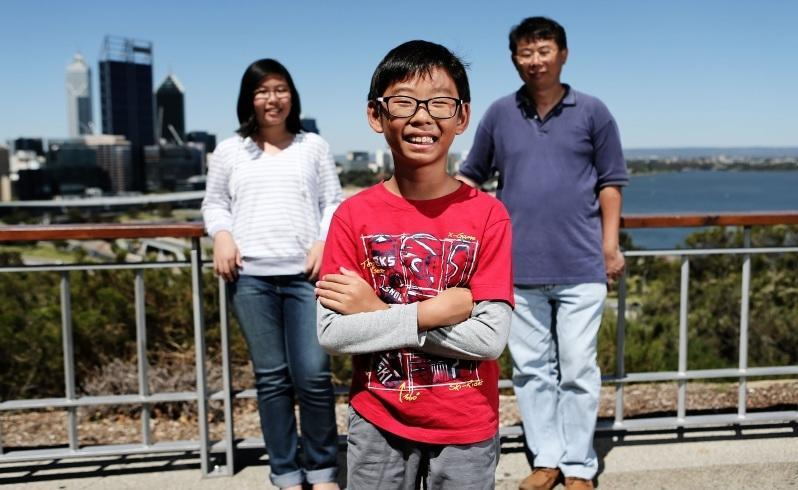A family from Singapore visit Kings Park. Natasha and Glenn Tan and their father William. Picture: Michael Wilson/The West Australian