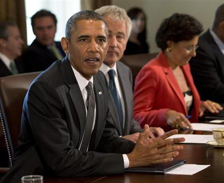 U.S. President Barack Obama speaks during a cabinet meeting in the West Wing of the White House in Washington