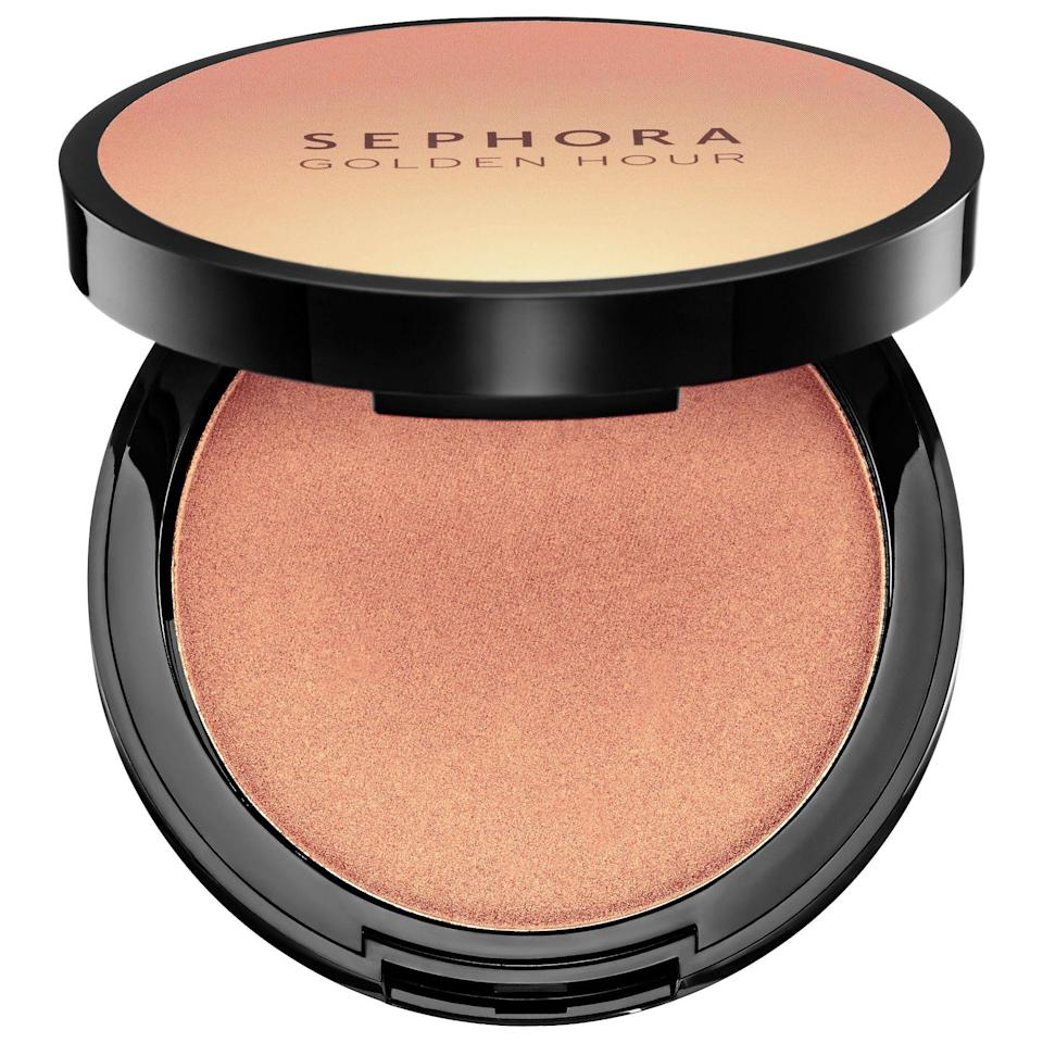 """<p>Aptly named, these four highlighting powders pack a major punch on your cheeks and flatter every skin tone.</p><p><strong>Sephora Collection</strong> Golden Hour Highlighting Powder, $16, available at <a href=""""http://www.sephora.com/golden-hour-highlighting-powder-P420607?skuId=1931120&icid2=just%20arrived%3Ap420607"""" rel=""""nofollow noopener"""" target=""""_blank"""" data-ylk=""""slk:Sephora"""" class=""""link rapid-noclick-resp"""">Sephora</a>.</p>"""