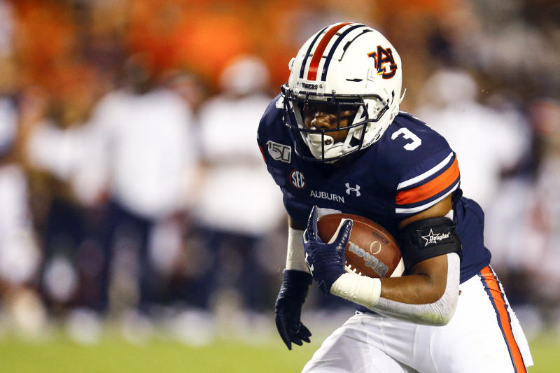 Auburn running back D.J. Williams (3) carries the ball during the second half of an NCAA college football game against Mississippi State, Saturday, Sept. 28, 2019, in Auburn, Ala. (AP Photo/Butch Dill)