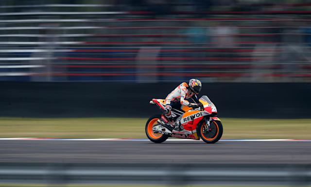 Motorcycle Racing - Argentina Motorcycle Grand Prix - MotoGP Practice Session - Termas de Rio Hondo, Argentina - April 7, 2018 - Repsol Honda Team rider Dani Pedrosa of Spain races during the third practice session. REUTERS/Marcos Brindicci