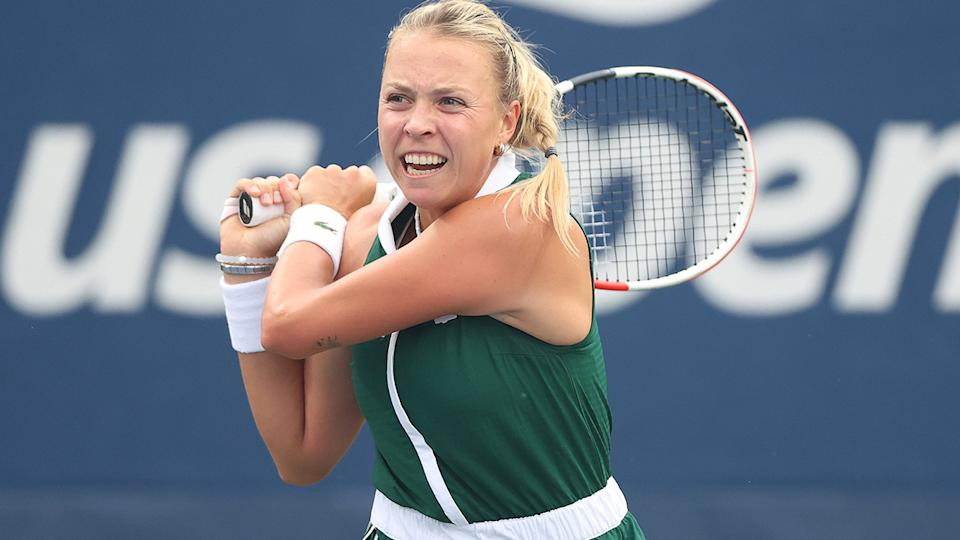 Anett Kontaveit, pictured here in action against Sam Stosur at the US Open.