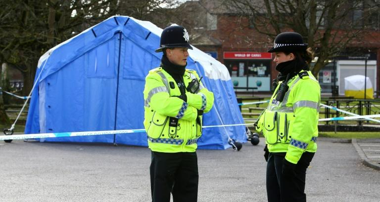 Police guard the site of the attempted assassination of former Russian double agent Sergei Skripal in the English city of Salisbury