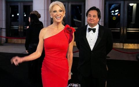 White House Counselor Kellyanne Conway and her husband George arrive for a dinner on the eve of Donald Trump's Inauguration  - Credit: Reuters