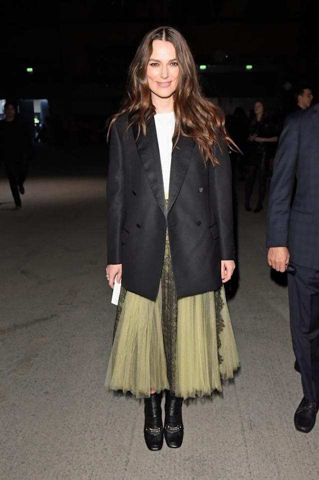 <p>How beaut did Keira Knightley look at Burberry's AW18 show? The actress donned head-to-toe in the label. <em>[Photo: Getty]</em> </p>