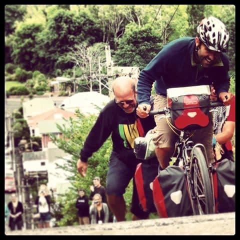 Cycling on the world's steepest street in Dunedin