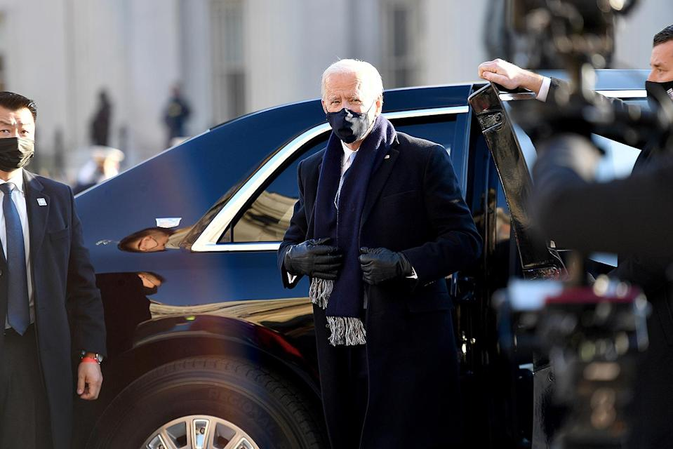 <p>President Biden exits his limo outside the White House to walk the remainder of the motorcade. </p>