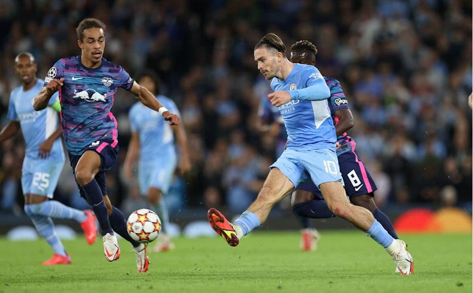 Jack Grealish playing for Manchester City against RB Leipzig in the Champions League  (Action Images/Reuters)