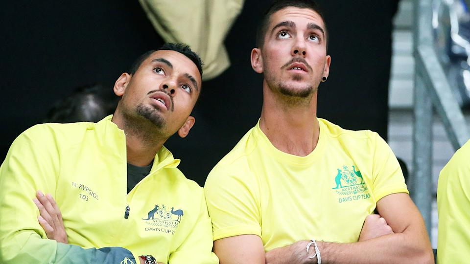Nick Kyrgios and Thanasi Kokkinakis, pictured here during a Davis Cup match in 2017.