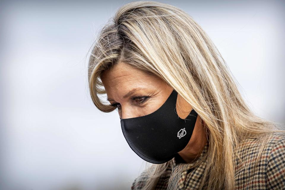 Queen Maxima of the Netherlands, wearing a face mask, looks on during a visit to the BovenIJ hospital in Amsterdam on November 5, 2020, to discuss the consequences of the Covid-19 novel coronavirus pandemic for regular care and the social domain. (Photo by Patrick van Katwijk / ANP / AFP) / Netherlands OUT (Photo by PATRICK VAN KATWIJK/ANP/AFP via Getty Images)