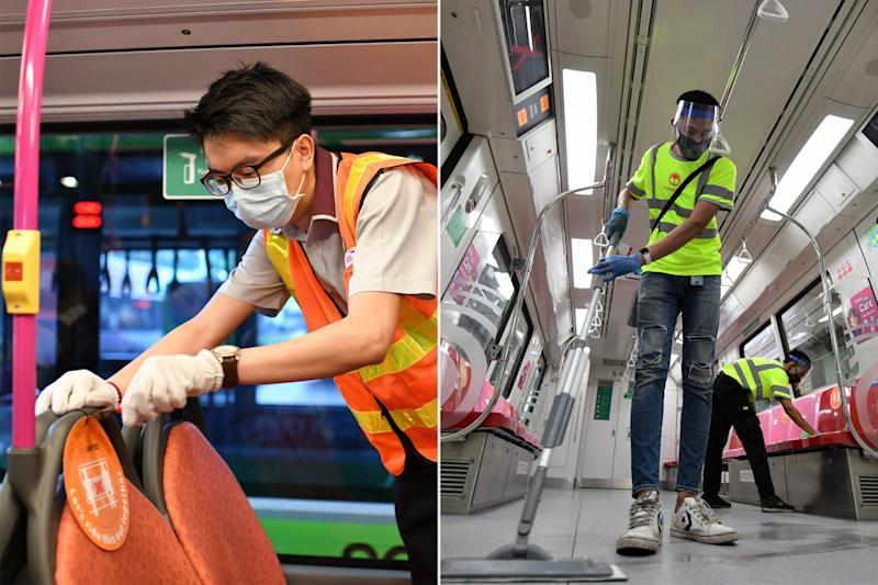(Left) A safe-distancing notice being removed from a public bus seat and (right) workers cleaning an MRT train. (PHOTOS: Facebook / Khaw Boon Wan)