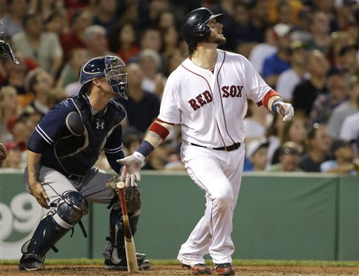 Boston Red Sox's Jarrod Saltalamacchia watches his RBI double to left, in front of San Diego Padres catcher Yasmani Grandal during the fourth inning of an interleague baseball game at Fenway Park in Boston, Wednesday, July 3, 2013. (AP Photo/Elise Amendola)