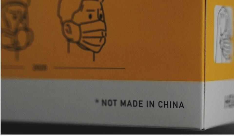 "The packaging for Demosisto's ""Not made in China"" mask. Photo: Demosisto"