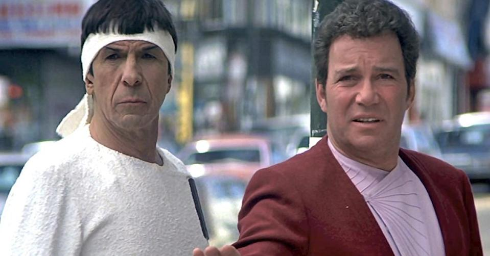 Spock and Kirk in '80s San Francisco in Star Trek IV: The Voyage Home.