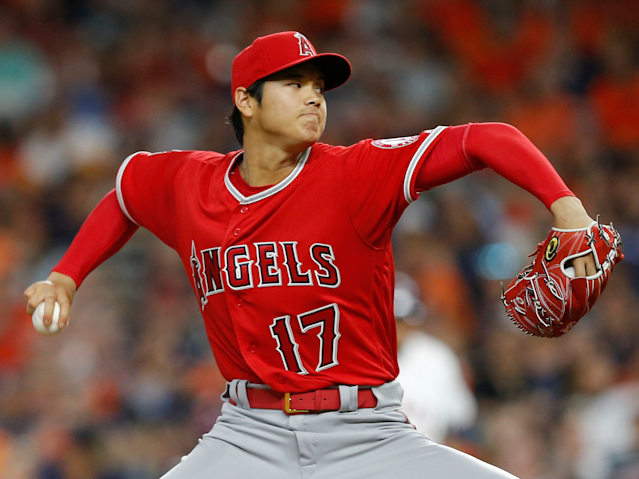 Shohei Ohtani pitching for the Los Angeles Angels in Major League Baseball.