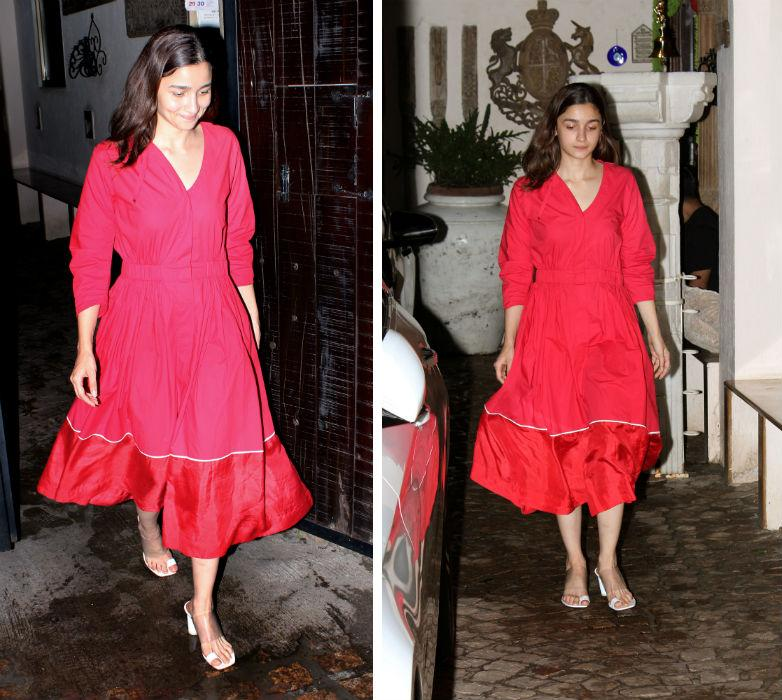 We spotted Alia Bhatt wearing a simple, yet a stunning red dress by <em>Lovebirds, </em>and teamed it up with white heeled sandals from <em>Neous. </em>Here's how you can recreate this look, scroll through.