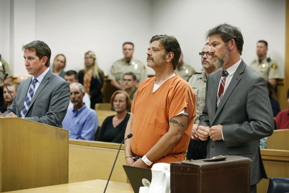 FILE - In this Aug. 15, 2017 file photo, Mark Redwine makes his first appearance in district court in Durango, Colo. Opening statements are expected sometime Monday, June 21, 2021, in the delayed trial of a man accused of killing his 13-year-old son in southwest Colorado nearly a decade ago. Dylan Redwine disappeared during a court ordered Thanksgiving visit in 2012 and his remains were later found. (Jerry McBride/The Durango Herald via AP, File)
