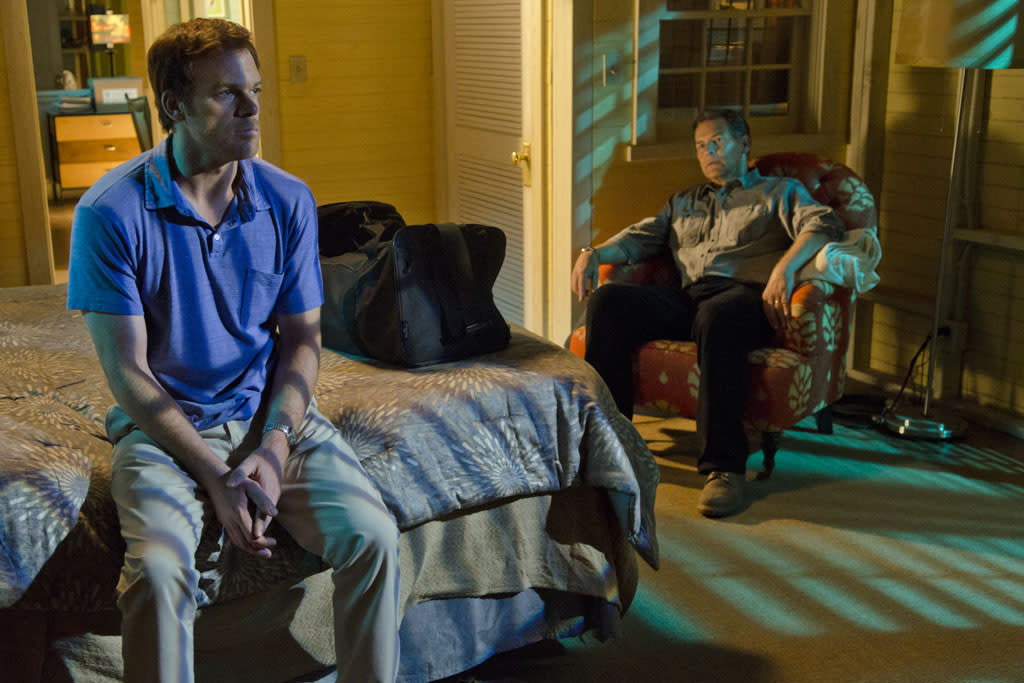"James Remar as Harry Morgan and Michael C. Hall as Dexter Morgan in the ""Dexter"" episode, ""Sunshine and Frosty Swirl."""