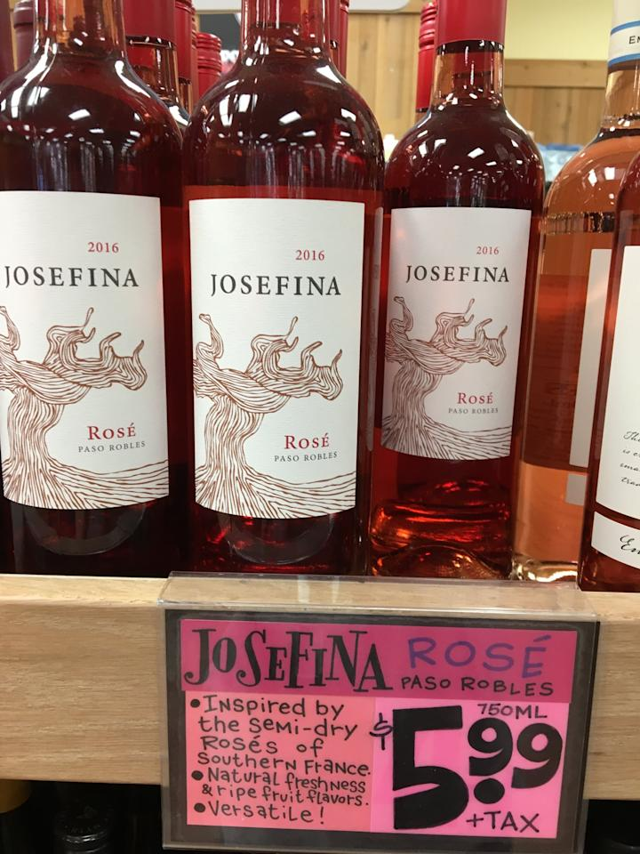 """<p>This semidry, fruit-forward bottle has a vibrant pink hue and a crisp finish. One editor thought it would be the perfect bottle to accompany a cheese-plate picnic while another envisioned it as the perfect base for homemade frosé.<br> <meta itemprop=""""rating"""" content=""""3.5""""> </p><div class=""""review-rating"""" data-review-rating=""""3.5""""> <i class=""""star-on""""></i><i class=""""star-on""""></i><i class=""""star-on""""></i><i class=""""star-half""""></i><i class=""""star-off""""></i><br></div>"""