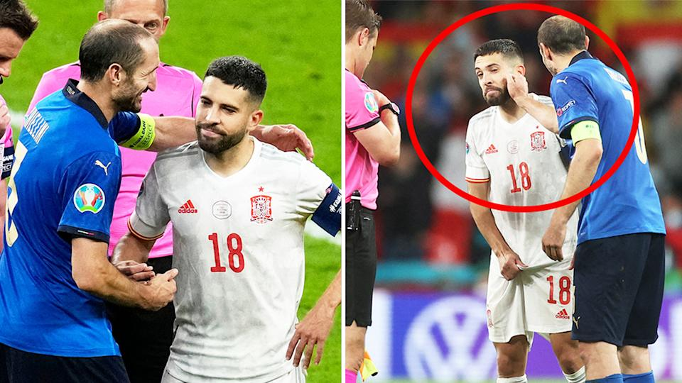 Giorgio Chiellini embracing Jordi Alba (pictured left) and joking around (picture right) before penalty shootouts at Euro 2020.