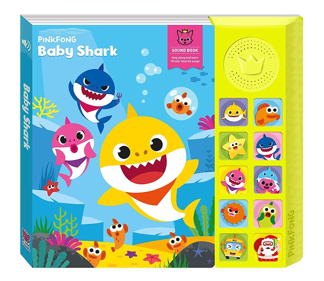 """<p>Little ones will adore reading this interactive <a href=""""https://www.popsugar.com/buy/Pinkfong-Baby-Shark-Official-Sound-Book-511986?p_name=Pinkfong%20Baby%20Shark%20Official%20Sound%20Book&retailer=amazon.com&pid=511986&price=20&evar1=moms%3Aus&evar9=45808433&evar98=https%3A%2F%2Fwww.popsugar.com%2Fphoto-gallery%2F45808433%2Fimage%2F45808440%2FPinkfong-Baby-Shark-Official-Sound-Book&list1=toy%20fair%2Ckid%20shopping&prop13=api&pdata=1"""" rel=""""nofollow"""" data-shoppable-link=""""1"""" target=""""_blank"""" class=""""ga-track"""" data-ga-category=""""Related"""" data-ga-label=""""https://www.amazon.com/Pinkfong-Baby-Shark-Official-Sound/dp/B07L8K66HT/ref=sr_1_1_sspa?"""" data-ga-action=""""In-Line Links"""">Pinkfong Baby Shark Official Sound Book</a> ($20) cover to cover before bedtime.</p>"""