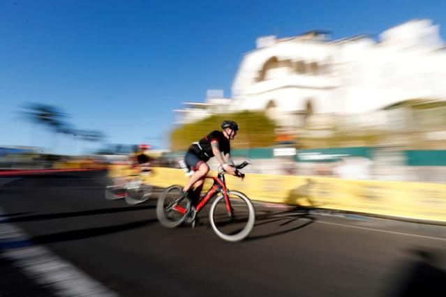 Athletes participate in Ironman 70.3 race in Cascais