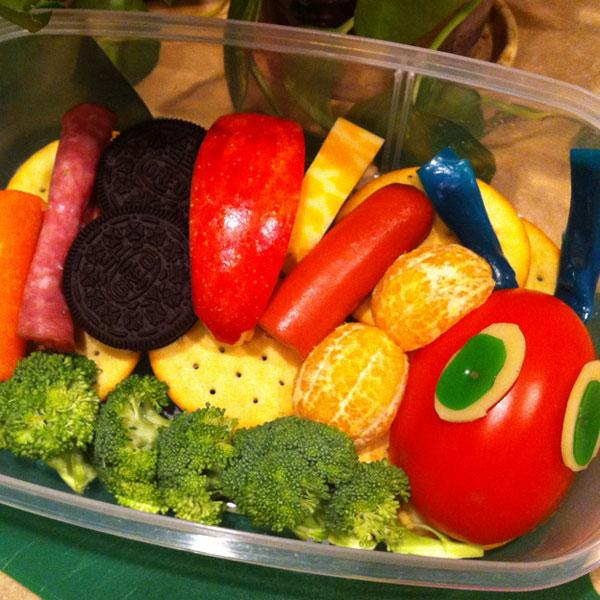 Fruit and vegetables were used to make The Very Hungry Caterpillar box. Heather also added Oreo cookies for a special treat.<br><br>Photo: Heather Sitarzewski<br>