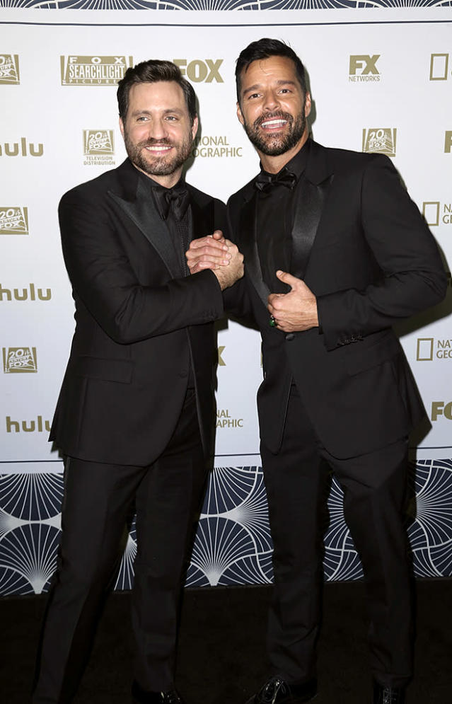 <p>Edgar Ramirez and Ricky Martin arrive at the Fox Golden Globes after-party. (Photo: Willy Sanjuan/Invision/AP) </p>