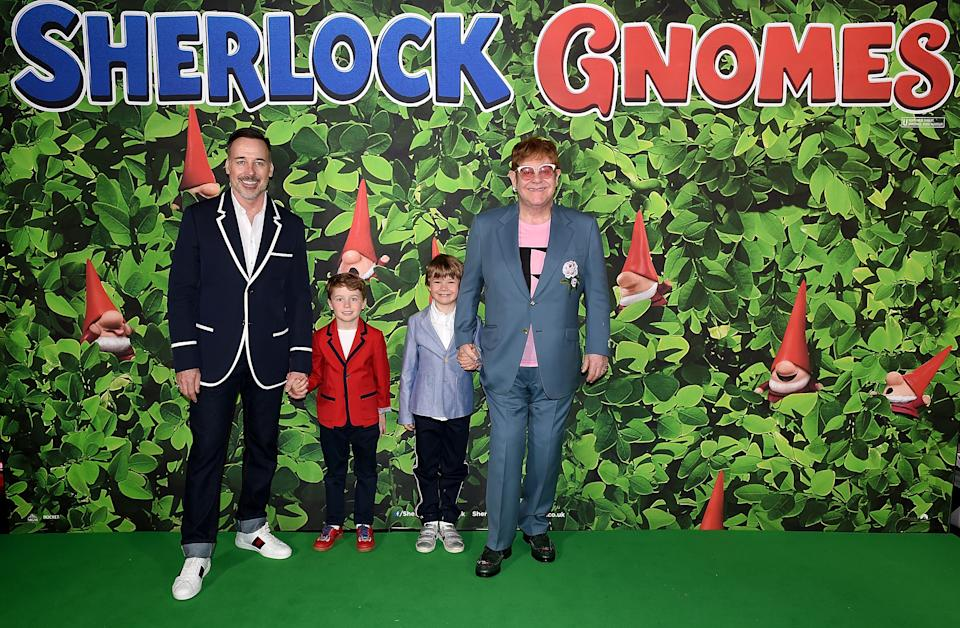 David Furnish (L) and Elton John with sons Elijah and Zachary attending the 'Sherlock Gnomes' London Family Gala hosted by Sir Elton John and David Furnish at Cineworld Leicester Square on April 22, 2018 in London, England.  (Photo by Stuart C. Wilson/Getty Images for Paramount Pictures)