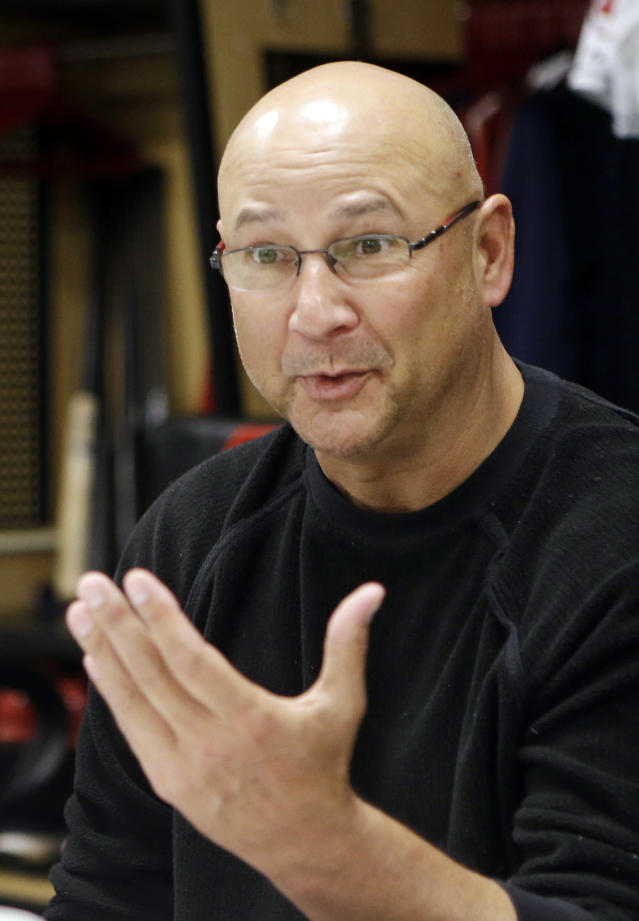 Cleveland Indians manager Terry Francona talks with media about the 2013 season Monday, Oct. 7, 2013, in Cleveland. The Indians lost to the Tampa Bay Rays in the AL wild-card last Wednesday, ending their season. (AP Photo/Mark Duncan)