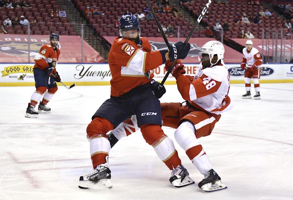 Florida Panthers defenseman Radko Gudas gets tied up with Detroit Red Wings left wing Givani Smith.