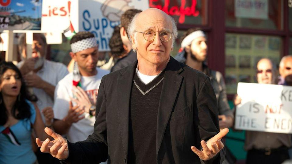 """<p>Improv on television? Sounds like a recipe for disaster. But former <em>Seinfeld</em> co-creator Larry David managed to create one of the most hilarious comedies on television by simply basing the comedy on himself. More than that, you'll never hear the theme song without knowing exactly what mood it provokes.</p><p><a class=""""link rapid-noclick-resp"""" href=""""https://play.hbonow.com/series/urn:hbo:series:GVU2bygQ1go7DwvwIAT3r?camp=Search&play=true"""" rel=""""nofollow noopener"""" target=""""_blank"""" data-ylk=""""slk:Watch Now"""">Watch Now</a></p>"""