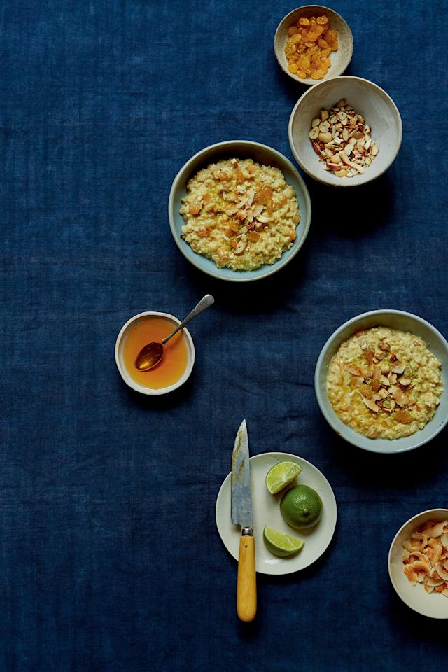 "A combo of cashews, golden raisins, and almond add pops of sweetness and crunch to this nourishing rice porridge. <a href=""https://www.epicurious.com/recipes/food/views/saffron-breakfast-kheer?mbid=synd_yahoo_rss"">See recipe.</a>"
