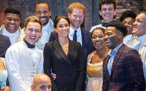 Prince Harry and Meghan meet the cast of musical Hamilton - Credit: Getty