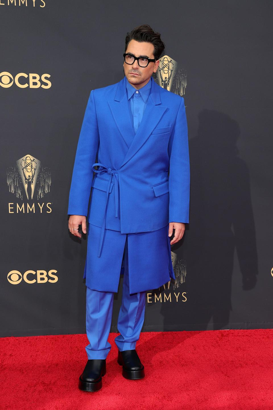 Like his onscreen sister, Dan wore Valentino Couture for the Emmys. His blue suit was such a moment.