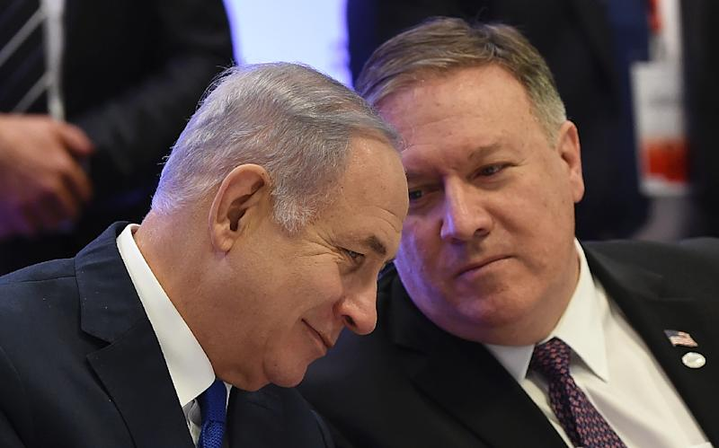 US Secretary of State Mike Pompeo (R) will meet this week in Jerusalem with Israeli Prime Minister Benjamin Netanyahu, seen here at a Middle East peace conference in Warsaw on February 14, 2019 (AFP Photo/Janek SKARZYNSKI)