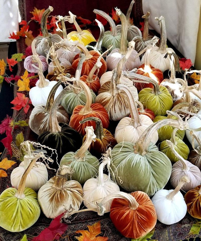 """<p><a href=""""https://www.realsimple.com/holidays-entertaining/velvet-pumpkins-amazon"""" target=""""_blank"""">Velvet pumpkins</a> are all the rage this fall, and these are handcrafted and topped with real pumpkin stems. Arrange a few of these beauties down the middle of your Thanksgiving table for a colorful, on-trend centerpiece. </p> <p><strong>To buy: </strong>From $23, <a href=""""http://www.awin1.com/cread.php?awinmid=6220&awinaffid=272513&clickref=RS%2CGorgeous%2528Under%252460%2521%2529FallTableDecorationIdeasforThanksgivingandBeyond%2Ckholdefehr1271%2CDEC%2CIMA%2C681776%2C201910%2CI&p=https%3A%2F%2Fwww.etsy.com%2Flisting%2F722823717%2Fvelvet-pumpkins-real-stems-many-colors%3F"""" target=""""_blank"""">ShoreCrafty.etsy.com</a>. </p>"""