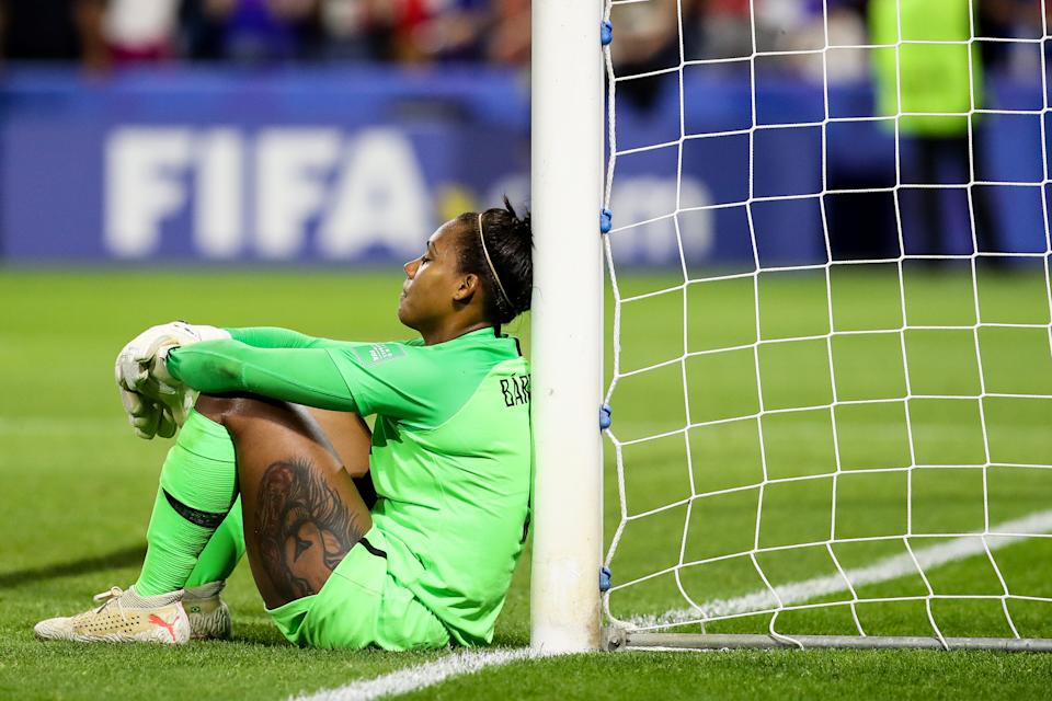 #1 Barbara of Brazil reacts after losing the 2019 FIFA Women's World Cup France Round Of 16 match between France and Brazil at Stade Oceane on June 23, 2019 in Le Havre, France. (Photo by Zhizhao Wu/Getty Images)