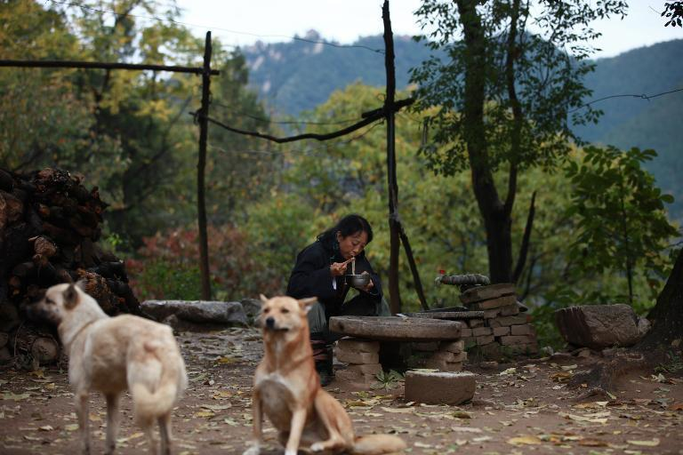 Gao Ming, a hermit in the Zhongnan mountains, eats noodles outside her cottage in north China's Shaanxi province, October 31, 2014