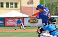FILE PHOTO: Mar 12, 2019; Jupiter, FL, USA; New York Mets second baseman Jeff McNeil (6) at bat against the Miami Marlins during a spring training game at Roger Dean Chevrolet Stadium. Mandatory Credit: Steve Mitchell-USA TODAY Sports