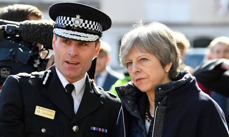 Wiltshire police's chief constable, Kier Pritchard, with Theresa May